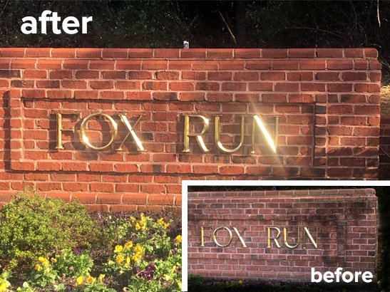 Community entrance sign brick cleaning | Jarretsville Powerwash Baltimore